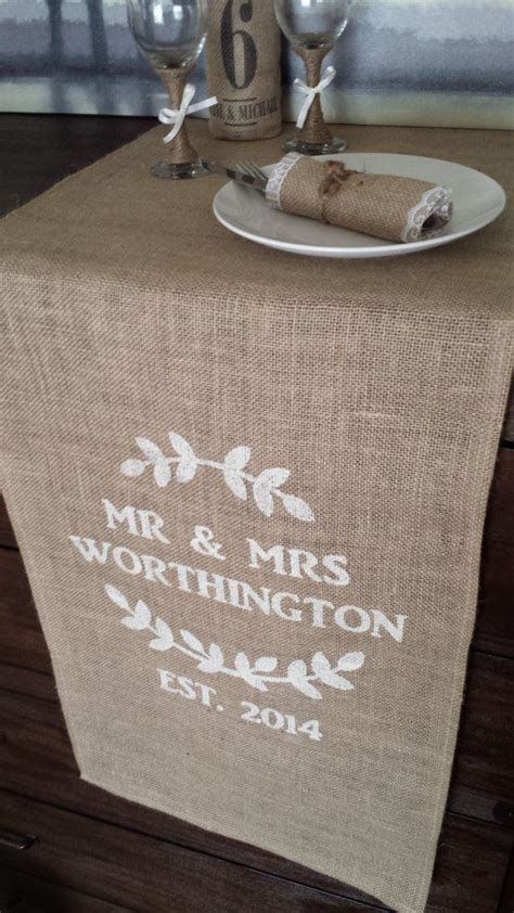 16 quot custom made burlap personalized handmade burlap wedding table runner