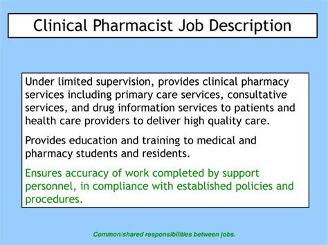 Pharmacist Responsibilities by Ppt Clinical Pharmacist Description Powerpoint