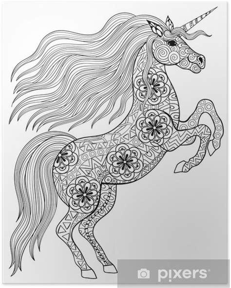Kleurplaat Moeilijk Unicorn by Poster Getrokken Magic Unicorn Voor Volwassen Anti Stress