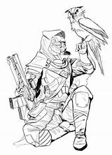 Destiny Coloring Pages Bungie Hunter Fan Drawing Character Concept Line Class Warlock Ghost Hype Mega Thread Cayde Hunters Gamespot Warcraft sketch template