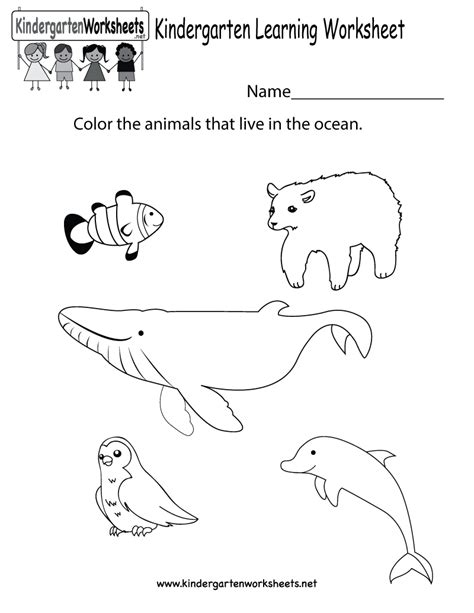 Learning Worksheet  Free Kindergarten Learning Worksheet For Kids