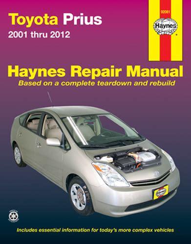 service and repair manuals 2001 toyota prius electronic throttle control toyota prius haynes repair manual 2001 2012 hay92081