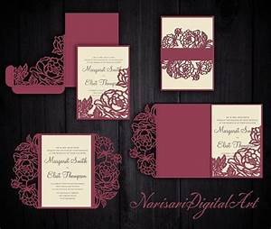 peonies set cricut wedding invitation template gate fold With make your own wedding invitations cricut