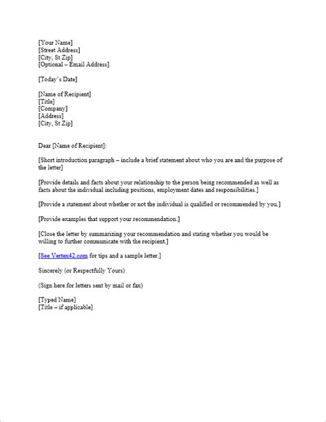 Download the Reference Letter Template from Vertex42.com