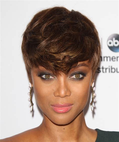 tyra banks casual short straight layered pixie hairstyle