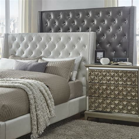 Leather Bed Headboard by Faux Leather Tufted Nailhead Wingback