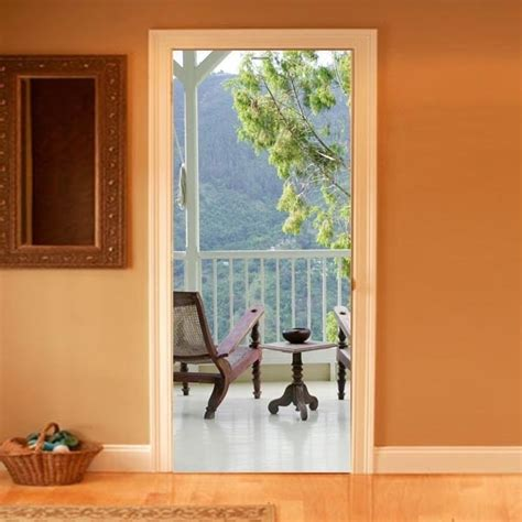trompe l oeil balcony door decal inside decals doors and balconies