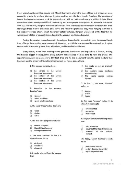 reading   multiple choice questions worksheet