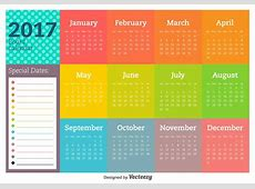 2017 New Year Calendar And Vector Templates Download