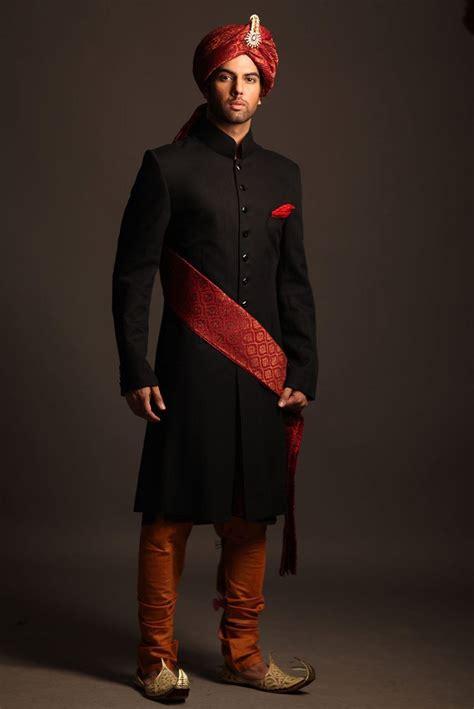 black suiting sherwani