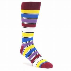 Red Multi Color Stripe Men's Dress Socks Statement Sockwear