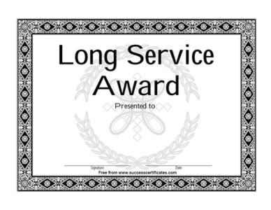 certificate  completion  long service certificate
