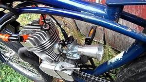 Close Up Of The Twin Ignition Motorized Bicycle Engine