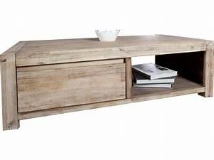 Table Basse Rustique : table basse rustique en bois massif d 39 acacia vente de comforium conforama ~ Teatrodelosmanantiales.com Idées de Décoration