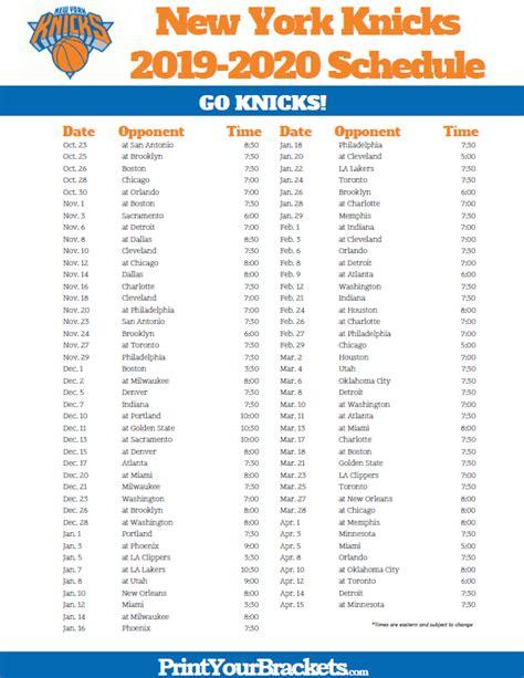 printable york knicks schedule