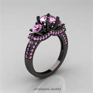 black engagement rings 14k black gold three light pink sapphire wedding ring engagement ring r182 14kbglps
