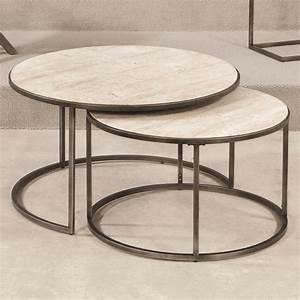 Round cocktail table with nesting tables by hammary wolf for Round stacking coffee table