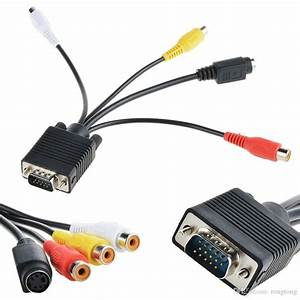 Vga Svga To S Video 3 Rca Tv Av Converter Cable Adapter Computer Monitor Pc Computer Laptop