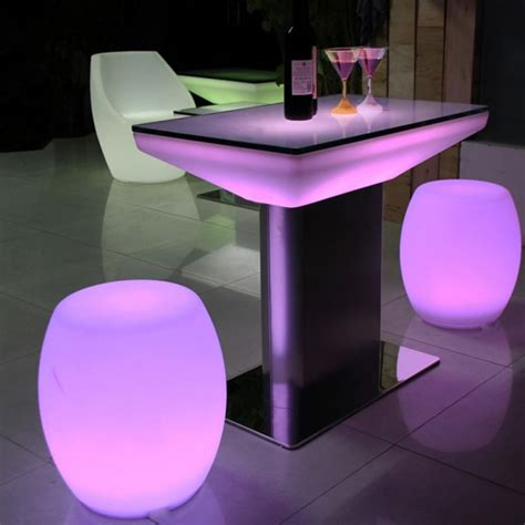 led table l led bar table with stainless steel legs