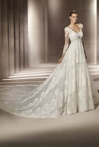 classic ivory lace v neck wedding dress with sleeves With ivory lace sleeve wedding dress