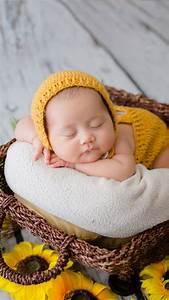 newborn, 4k, wallpaper, , crochet, baby, costume, , yellow, dress, , sleeping, baby, , basket, , sunflowers