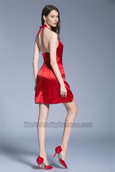 short mini red dress halter backless party cocktail dresses thecelebritydresses