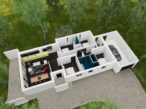 plan villa moderne 3d linea maison moderne plain pied