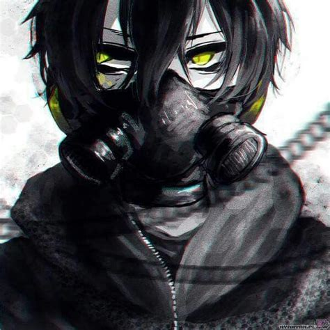 Anime Boy With Black Hair Green Eyes And Gas Mask Anime