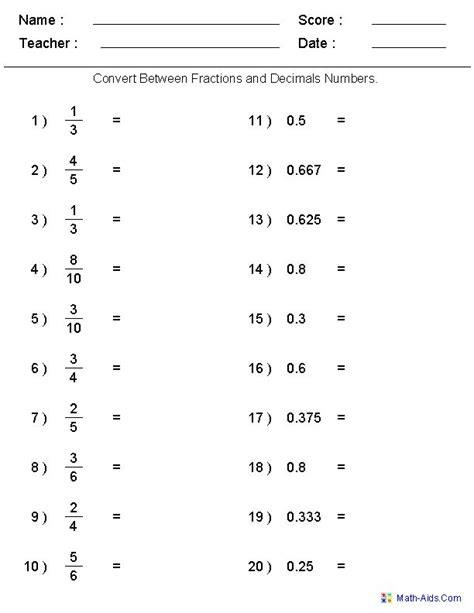 converting  fractions decimals worksheets