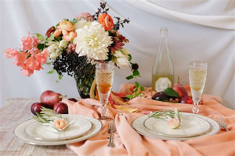 Romantic Peach and Plum Fall Wedding Inspiration   Glamour & Grace