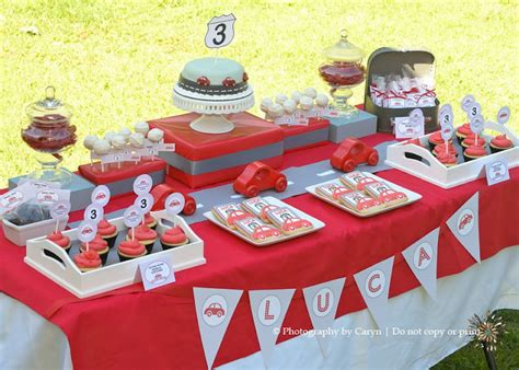 karas party ideas route  red car  birthday party