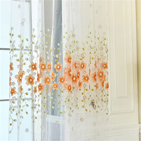 fahion flowers home room kitchen sheer cafe curtain voile