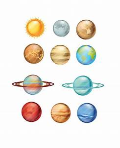 Solar System Planets Vector Art Pack - Milky Way and ...