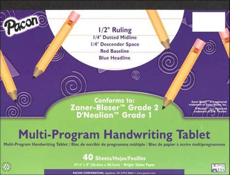 multi program handwriting tablet d nealian 1 zaner