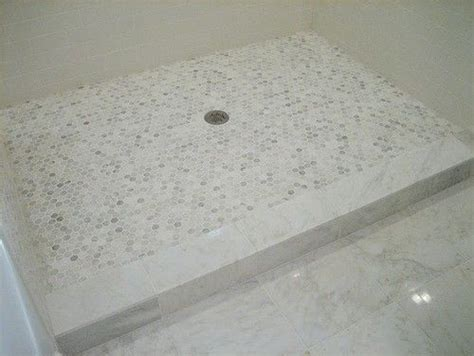 hex  penny   shower floor marble tile curb