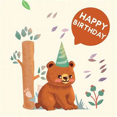 Ecard Birthday Happy Critters Bear Cards