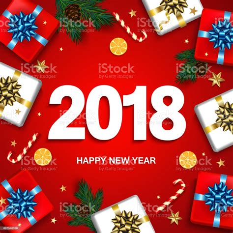 Happy New Year Greeting Card With Gifts Boxes Set With Bow
