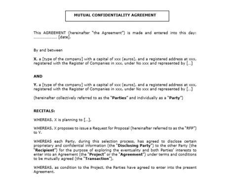 statut chambre d hotes accord de confidentialité en anglais nda