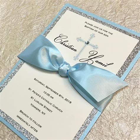 Blue Baptism Invitation with Ivory ~ Christening ~ First