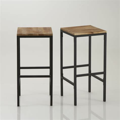 table haute de cuisine et tabouret tabouret de bar haut forme carrée hiba lot de 2 la
