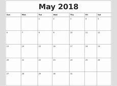 May 2018 Free Printable Calendar Templates