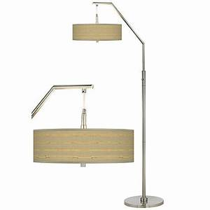 Woven reed giclee shade arc floor lamp h5361 v3104 for Floor lamp with woven shade