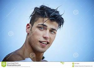 Handsome Young Man's Face, Smiling Outdoors Stock Photo ...