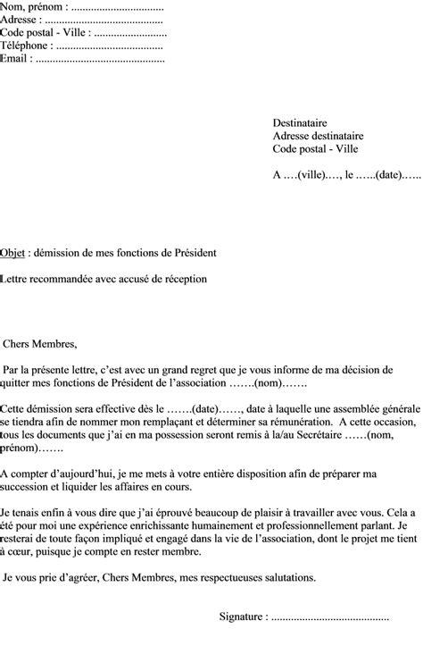 lettre de demission président association loi 1901