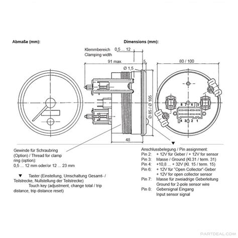 vdo vdo cockpit international 130kmh 85mph 3 3 8 in electronic speedometer 12 24v with