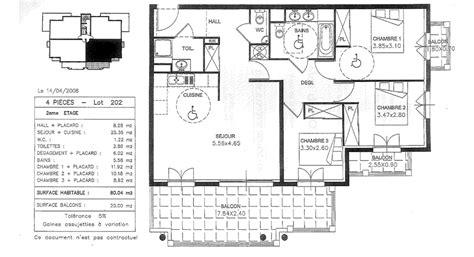 Plan Maison Avec Appartement Plan Appartement 80m2 3 Chambres