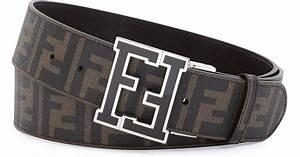 Fendi Mens Zucca College Belt in Brown for Men | Lyst