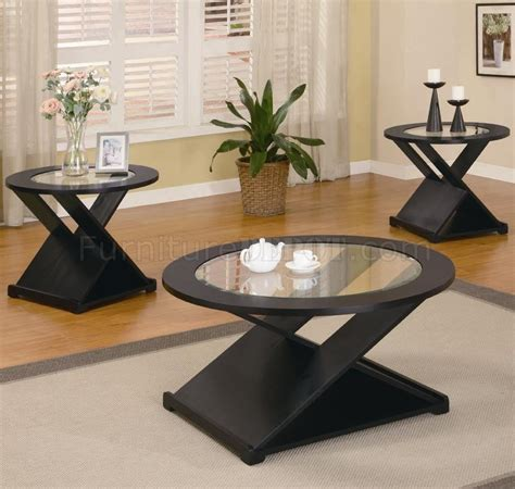 modern style table ls rich black finish modern 3pc coffee table set w round
