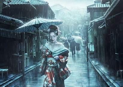 Rain Geisha Japanese Artwork Kimono Umbrella Asian