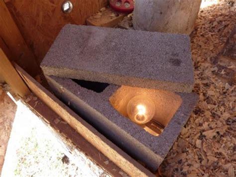 diy chicken coop cinder block waterer heater